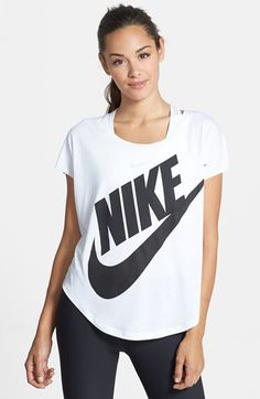 Nike 'Signal' Short Sleeve Logo Tee available at Curvy, V Neck, Legs, Nike, My Style, Sleeve, Nordstrom Credit, Clothes, Women
