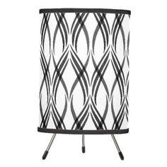 #White & Dark Grey Ribbons Tripod Lamp - #elegant #chic