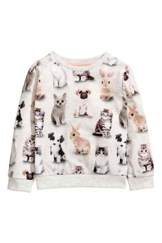 Printed sweatshirt - Light grey/Animals - Kids | H&M GB