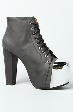 Jeffrey Campbell The Lita Cap Shoe in Black Wash and Silver : Karmaloop.com - Global Concrete Culture