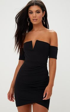 Black One Shoulder Extreme Split Detail Bodycon Dress Pretty Little Thing UX5LlMMk