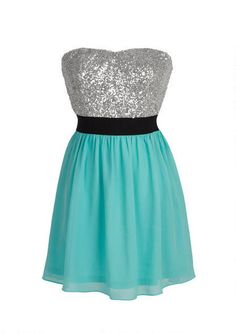 Strapless mixed media party dress with allover sequin bodice and chiffon skirt. Elasticized waist and back zipper for better fit. Fully lined. Casual Homecoming Dresses, Grad Dresses, Dance Dresses, Casual Dresses, Short Dresses, Delias Dresses, Formal Dresses, Pretty Dresses, Beautiful Dresses