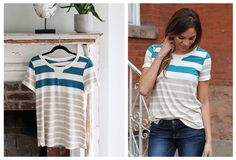 Tantalizing Turquoise Striped Top