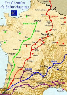 Map of the world heritage sites of the way of st james in france les chemins de saint jacques de compostelle gumiabroncs Images