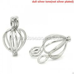 Wholesale Copper Charm Pendants Heart Silver Tone(Fits 6mm-8mm Beads) Hollow 24x13mm,5PCs from China Supplier – 8seasons.com