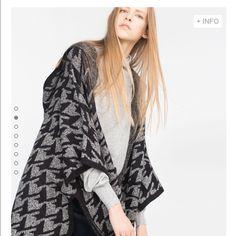 Taking down in 2 weeks.Zara poncho Didn't fit me Zara poncho with hood. Very soft material. Nice big pockets. Zara Sweaters Shrugs & Ponchos