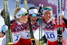 Norway skiers celebrate dominating in women's cross-country; Marit Bjoergen wins gold - @BBCSport.... T. Johaug wins silver and K.S. Steira wins bronze (finally out of 4th).  Its all Norway and the 10th medal for M. Bjoergen!