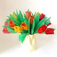 57 best large origami flower arrangements images on pinterest origami tulip flower arrangement in origami vase mightylinksfo