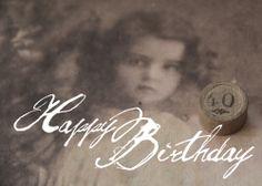 Postkarte aus Karton . Geburtstag 40 Jahre. Auch andere Jahre erhältlich. www.gartenbijoux.ch/karten