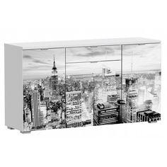 Aparador cuatro puertas de Salón o Cocina New york acabado en aglomerado melaminizado con un grosor del tablero 25mm con estantes regulables en altura y con las puertas impresas.