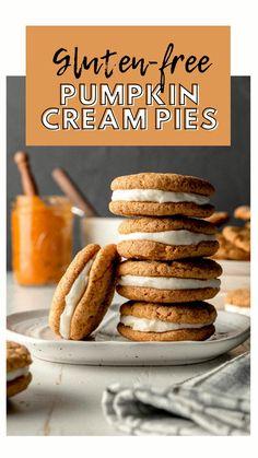 Gluten Free Pumpkin, Gluten Free Cookies, Gluten Free Desserts, Gluten Free Recipes, Baking Recipes, Pumpkin Cream Pie, Pumpkin Spice, Diet Desserts, Cinnamon Spice