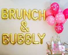 BRUNCH & BUBBLY Champagne Balloons Brunch Banner Lets