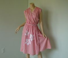 Pink & White Striped Dress- 1980's Wrap- Floral Applique- Midi Length, Full Skirt, Sleeveless- Candy Striper I'd love to make this for Shelby