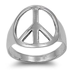 Amazon.com: Sterling Silver 18mm Medium Peace Sign Ring (Size 4 - 15): Jewelry