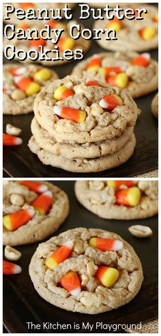 Peanut Butter Candy Corn Cookies ~ Loaded with peanut butter, dry roasted peanuts, and candy corn melted in the center & tucked on top, these cookies are one delicious treat, indeed! It's that super tasty sweet-and-salty combination we love, in one fun little fall cookie. A perfect Halloween sweet treat, too! #candycorncookies #candycorn #Halloweencookies www.thekitchenismyplayground.com Best Cookie Recipes, Easy Cake Recipes, Holiday Recipes, Fall Recipes, Holiday Ideas, Candy Corn Cookies, Cupcake Cookies, Yummy Treats, Sweet Treats