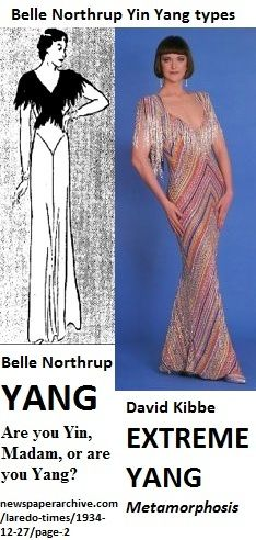 YANG dresses with similar silhouette & top fringe. belle northrup's YANG and #kibbe's EXTREME YANG. (belle northrup is the creator of yin yang typing.) also note the high contrast in the belle northrup dress.kibbe also has high contrast as yang. RELATED: http://pinterest.com/pin/525021269029573239 http://pinterest.com/pin/525021269029683561 http://pinterest.com/pin/525021269029818809 http://pinterest.com/pin/525021269029608227
