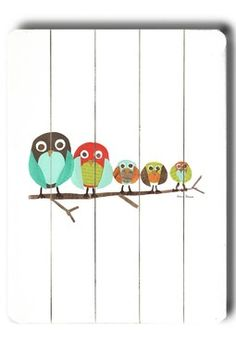 Five Owls Distressed Wood Wall Plaque for playroom