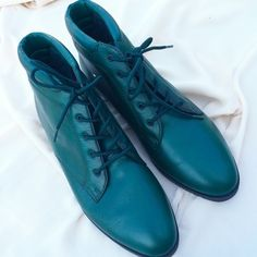 Vintage Emerald Green Leather Danexx Booties These 80s booties are in sublime condition and in the most riveting emerald green hue. Lined with a plaid pattern reminiscent of mountainous picnic hikes, they are quite perfect. Tagged as 8 1/2 but will just as well fit an 8. Price is firm. Vintage Shoes Ankle Boots & Booties