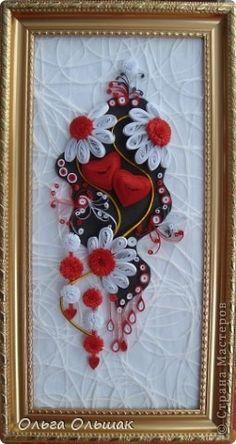 Картина, панно Квиллинг: Два сердца. Бумага, Материал оберточный, Бумажные полосы Валентинов день, День семьи, Свадьба. Фото 1