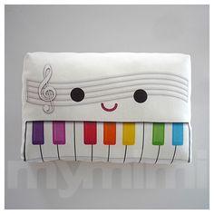 Decorative Mini Pillow, Stuffed Toy Pillow - Rainbow Piano. $18.00, via Etsy.