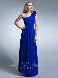 Elegant Pleated Floral 2013 One Shoulder Blue Evening Gown 1