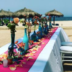 A colorful destination wedding reception in the sand at Sunscape Puerto Vallarta! Destination Wedding Inspiration, Destination Wedding Locations, Wedding Ideas, Beach Wedding Reception, Beach Ceremony, All Inclusive Family Resorts, Puerto Vallarta, Resort Spa, Special Day