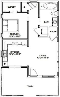 PDF house plans, garage plans, & shed plans. Tiny House Layout, Small Tiny House, Tiny House Living, Tiny House Design, House Layouts, Small Homes, Living Room, One Bedroom House Plans, Guest House Plans