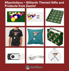 #Sports4you ~ Billiards Themed Gifts and Products from Zazzle! Here is just a sample of the products available at Zazzle. Gifts and products for Billiard game players and fans!