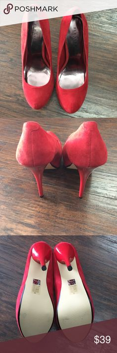 "Pleaser Day & Night Shoes Red suede concealed platform heels- 5"" heels Pleasure Day & Night Shoes Platforms"