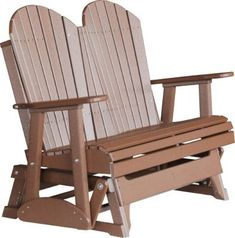 Amish Outdoors Deluxe Adirondack Gliding Loveseat $649.99.  SKU: 143966-P.   http://www.homemakers.com/amish-outdoors-deluxe-adirondack-gliding-loveseat-143966?