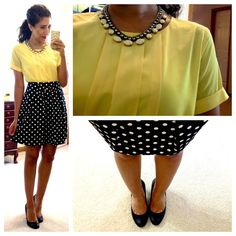 JCP top (in yellow) // F21 polka dot skirt // Jessica Simpson pumps // necklace via Burlington Coat Factory.
