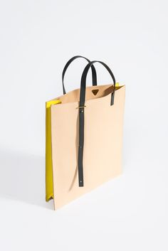 AB 1 Tote Bag, Natural/Yellow #handbags #german #pb0110