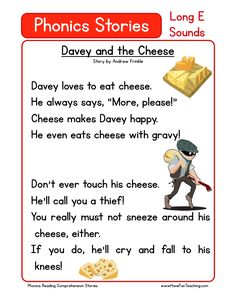 This Reading Comprehension Worksheet - Davey and the Cheese is for teaching reading comprehension. Use this reading comprehension story to teach reading comprehension.