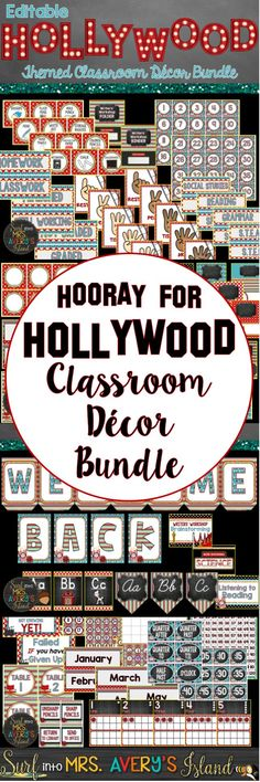 This editable Hollywood themed classroom decor bundle is perfect for your back to school decorations and ideas.  Roll out the red carpet and welcome your students back in style with a variety of printables to personalize your bulletin boards and help with your classroom management all year!  Click here to see take a look at the preview!