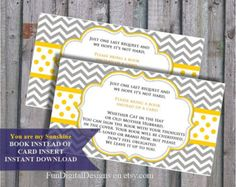 Book instead of card insert You are my Sunshine, Grey yellow Chevron Theme Baby Shower, printable, digital file, DIY