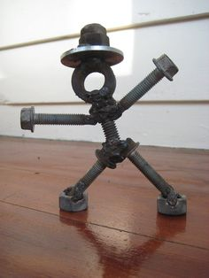 Folk Art Original Assemblage Nuts and Bolts Man by fluffie on Etsy, $61.00