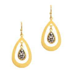 """The perfect day-to-night earrings with just enough sparkle to be noticed but understated enough for the office. - Gold vermeil, CZ's - 1"""" long - French wire - USA"""