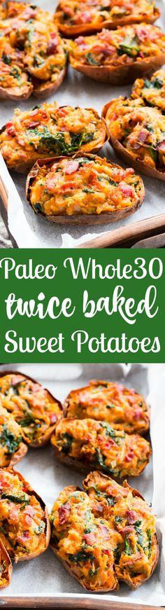 Twice Baked Sweet Potatoes {Paleo, Whole30, Dairy-Free}  #justeatrealfood #paleorunningmomma