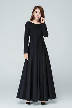 Schwarzes Kleid Wollkleid Winterkleid warmes Kleid