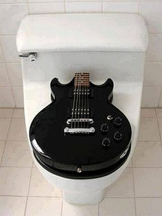 What Every Rock Star Needs - A Guitar Toilet Seat! The Perfect Fit. New Product design for a toilet seat. Top is made from a REAL guitar. Bottom is handcar. Bar Deco, Music Furniture, Home Goods Decor, Home Decor, Guitar Room, Guitar Case, Music Guitar, Wc Sitz, Home Studio