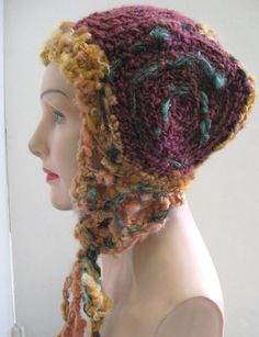 Spring SALE- Wooly Wrap- freeform crochet hat