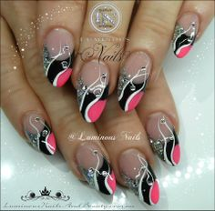 Sculptured Acrylic with Young Nails Neon Guava, Rainbow Black, GlitterGasm Chunky Fine Silver, White Acrylic paint & Crystals.