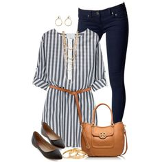 """""""Verical Striped Top"""" by daiscat on Polyvore"""