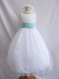 Hey, I found this really awesome Etsy listing at https://www.etsy.com/listing/157654142/flower-girl-dresses-white-with-blue-aqua