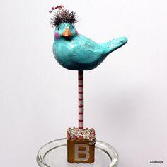Paper Mache Bluebird Folk Art Sculpture.  Etsy