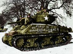 "M4A3E2 Jumbo Sherman, "" Cobra King "", C Company, 37th Tank Battalion, 4th Armored Division. The 4th Armored moved over 150 miles to assemble in the Arlon-Luxembourg area to begin the breakthrough to relieve surrounded American troops in Bastogne. At 1650, December 26, 1944, this tank made contact with 326th Airborne Engineers, and Bastogne's seige was lifted, although much heavy fighting lay ahead."