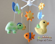 """Baby Crib Mobile - Baby Mobile - Pond Nursery Crib Mobile - Duck, Frog, Turtle """"A day at the Pond""""(You can pick your colors). $78.00, via Etsy."""
