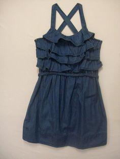 CHEROKEE KID GIRLS SIZE LARGE 10-12 BLUE CHAMBRAY DRESS 100% COTTON SUMMER EVERY #Cherokee #Dress #Everyday
