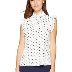 Anne Klein Tops | Nwt Anne Klein Dot Ruffle Sleeve Blouse | Poshmark Ruffle Sleeve, Ruffle Blouse, Cute Woman, Anne Klein, Polka Dots, Dress Up, Sleeves, Outfits, Things To Sell
