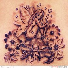 What does fairy tattoo mean? We have fairy tattoo ideas, designs, symbolism and we explain the meaning behind the tattoo. Small Fairy Tattoos, Fairy Wing Tattoos, Wing Tattoos On Back, Lower Back Tattoos, Flower Tattoos, Taz Tattoo, Tattoo You, Fairy Tattoo Designs, Star Tattoo Designs